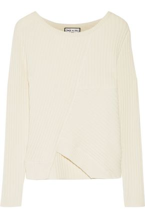 PAUL & JOE Asymmetric ribbed silk and wool-blend sweater