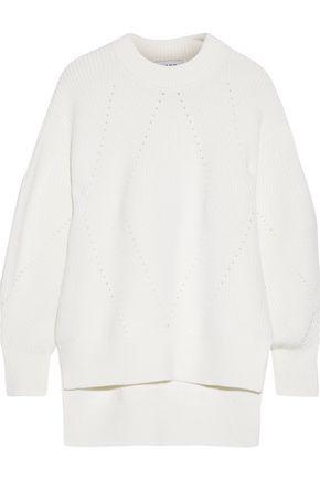 DKNY Oversized pointelle-trimmed merino wool-blend sweater