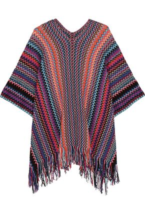 WALT & BROWN Fringed metallic crochet-knit poncho