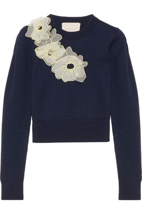 ROKSANDA Nobuya cropped appliquéd wool sweater