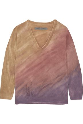 RAQUEL ALLEGRA Boyfriends distressed tie-dyed merino wool and cashmere-blend sweater