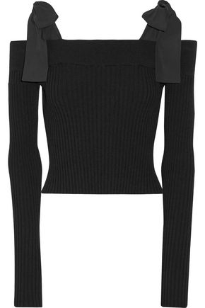 MSGM Off-the-shoulder poplin-trimmed ribbed-knit sweater