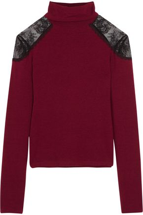 ALICE + OLIVIA Krystalle lace-paneled stretch-knit turtleneck sweater