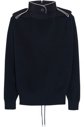 SACAI Lace-up twill-trimmed cotton sweater
