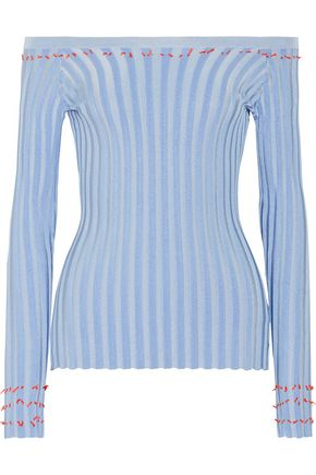 ALTUZARRA Tatum off-the-shoulder fil coupé ribbed-knit top