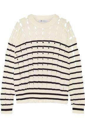 T by ALEXANDER WANG Cutout striped cotton sweater