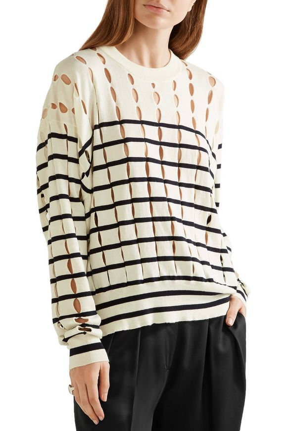 Cutout striped cotton sweater   T by ALEXANDER WANG   Sale up to 70% off    THE OUTNET