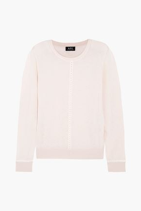 A.P.C. Manda lattice-trimmed cotton and linen-blend sweater