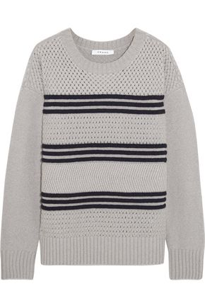 FRAME Striped mercerized wool-blend sweater