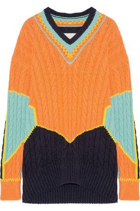 MAISON MARGIELA Oversized color-block cable-knit cotton-blend sweater