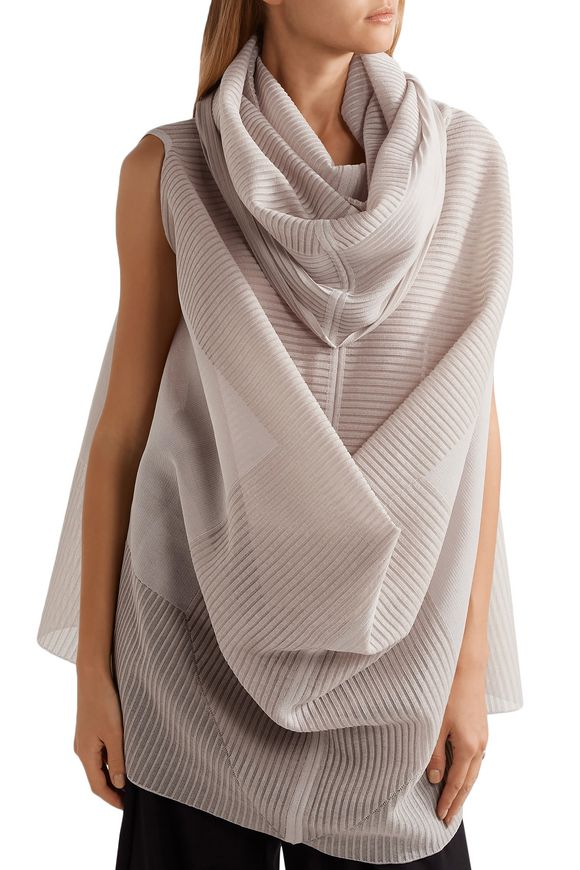 Draped ribbed silk-blend top | RICK OWENS | Sale up to 70% off | THE OUTNET