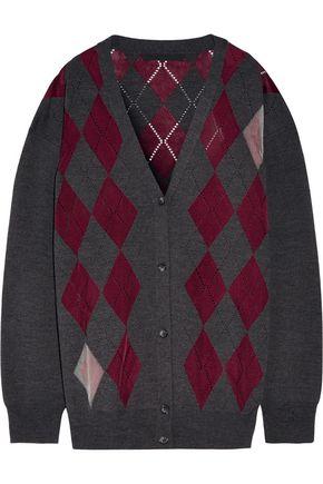 ALEXANDER WANG Argyle merino wool-blend cardigan