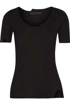 ALEXANDER WANG Paneled merino wool-blend T-shirt