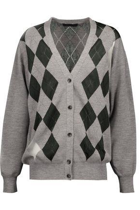 ALEXANDER WANG Mesh-paneled merino wool-blend cardigan