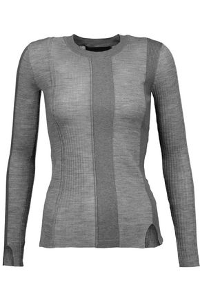 ALEXANDER WANG Paneled merino wool-blend sweater