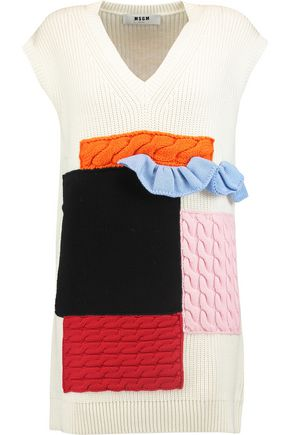 MSGM Patchwork ribbed wool sweater