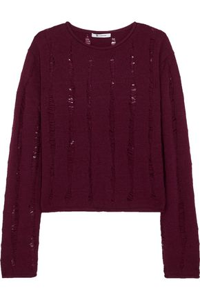 T by ALEXANDER WANG Distressed merino wool sweater