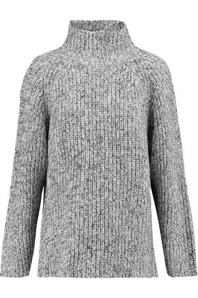 T by ALEXANDER WANG Marled ribbed cotton-blend turtleneck sweater