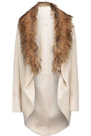 JOIE Helma faux fur-embellished wool and yak-blend cardigan