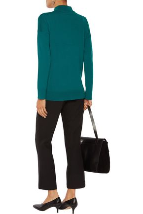 IRIS AND INK Heather ribbed wool turtleneck sweater