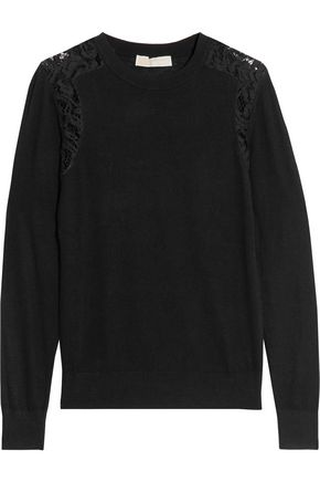 MICHAEL MICHAEL KORS Corded lace-trimmed knitted sweater