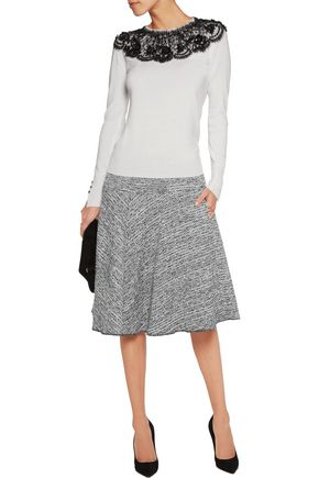 OSCAR DE LA RENTA Embellished lace-appliquéd wool sweater
