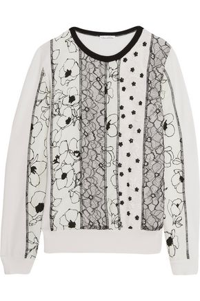 OSCAR DE LA RENTA Lace and printed cloqué-paneled wool sweater