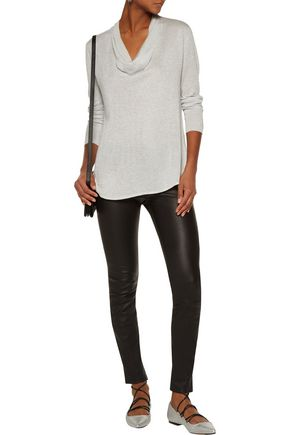 JOIE Mikkeline draped metallic stretch-knit sweater