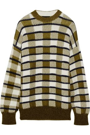 JOSEPH Oversized checked chunky-knit sweater