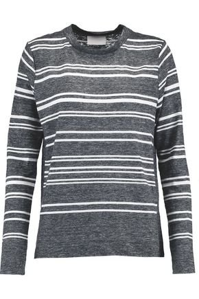 DKNY Striped slub linen and cotton-blend top