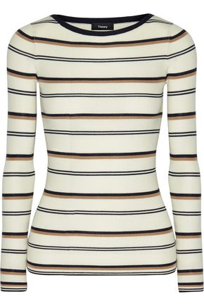 THEORY Mirzi M ribbed striped merino wool top
