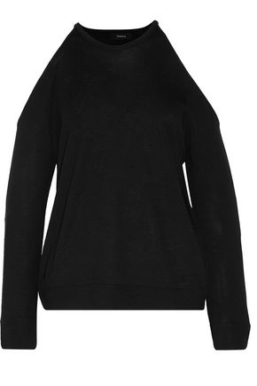 THEORY Toleema R cold-shoulder merino wool sweater