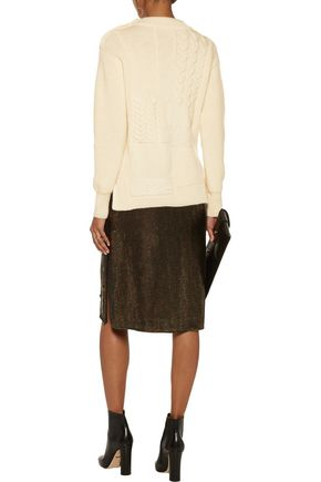 NINA RICCI Fringed-trimmed paneled bouclé and cable-knit wool sweater