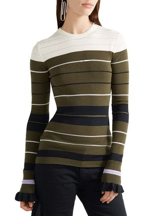 OPENING CEREMONY Striped ribbed stretch-knit sweater