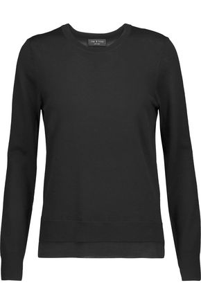 RAG & BONE Nadine paneled merino wool and stretch-knit sweater