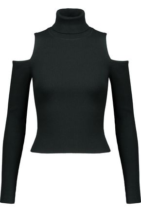 A.L.C. Mervyn cold-shoulder ribbed-knit turtleneck sweater