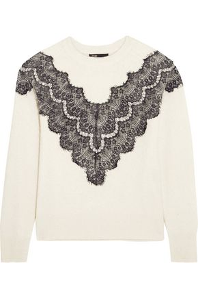 MAJE Malto lace-paneled knitted sweater