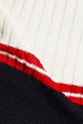 MAJE Paneled ribbed stretch-jersey sweater