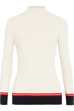 MAJE Paneled ribbed stretch-jersey sweater