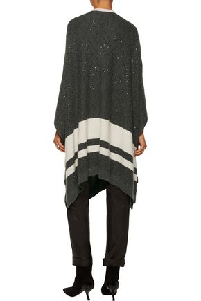 BRUNELLO CUCINELLI Sequin-embellished cashmere and silk-blend poncho