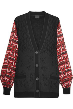 JUST CAVALLI Printed chiffon-paneled wool-blend jacquard-knit cardigan