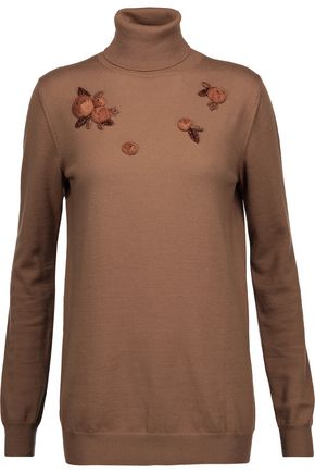 NINA RICCI Bead and organza-embellished wool turtleneck sweater