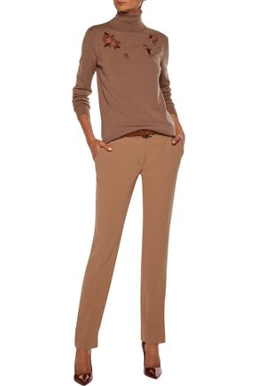 NINA RICCI Bead and organza-embellished wool turtleneck sweater
