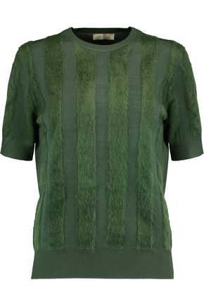 NINA RICCI Paneled stretch-knit sweater