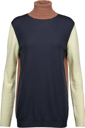 NINA RICCI Color-block wool turtleneck sweater