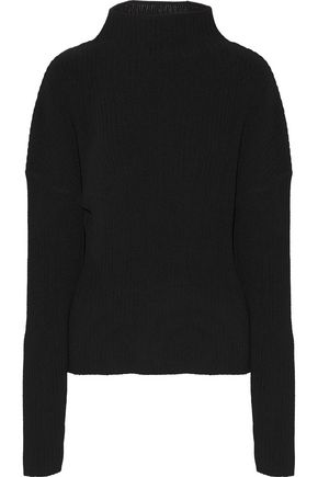 DION LEE Open-back ribbed cotton-blend sweater