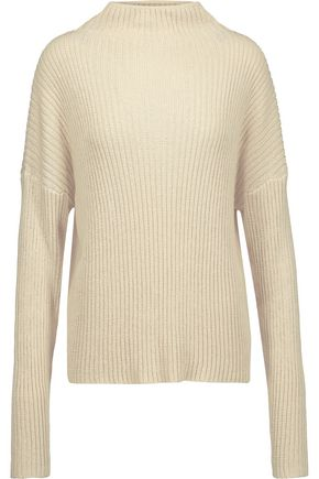 DION LEE Open-back ribbed-knit cotton-blend turtleneck sweater