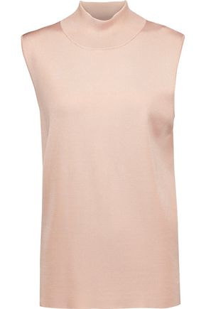 DION LEE Open-back stretch-knit turtleneck top