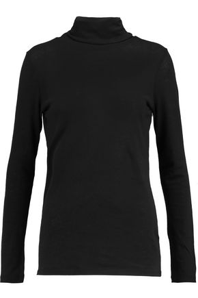 MAJESTIC Cotton and cashmere-blend turtleneck sweater