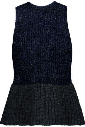 3.1 PHILLIP LIM Paneled metallic bouclé and ribbed-knit peplum top
